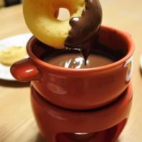 カボチャの焼きドーナツでチョコフォンデュ♡