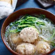 鶏団子と豆苗の中華風春雨スープ【#簡単 #節約 #時短 #水戻し不要 #包丁不要 #おかずスープ #スープ】