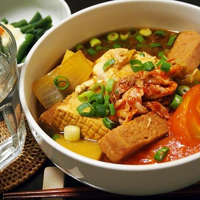 一汁一菜。ブテチゲ的スパムとじゃがいものキムチ味噌汁