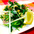 水菜とキノコの塩レモンバターツナサラダ