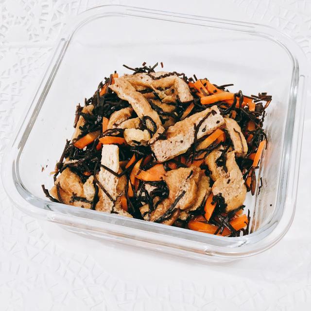 レンジで作る作りおき 常備菜^_^ひじきと油揚げの煮物