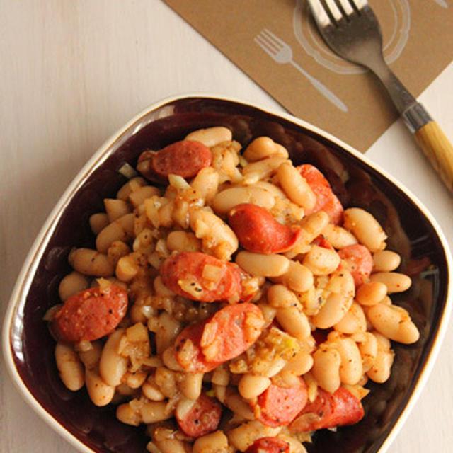 簡単!デリ風・白いんげん豆とチョリソーのホットサラダ