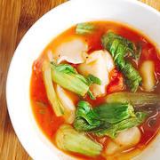 冷凍餃子を使った簡単スープ餃子〜今日はトマト味