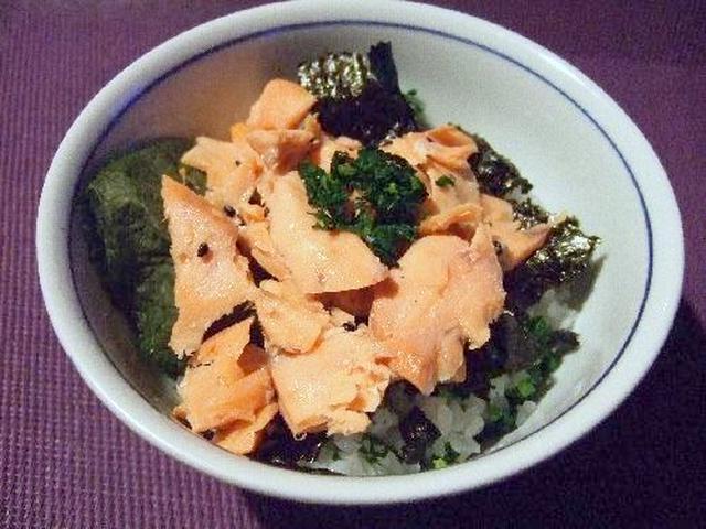 塩サケと海苔たっぷり大根葉菜飯