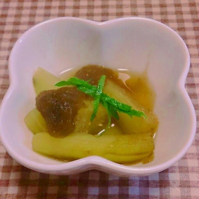 茄子ととろろ昆布のワサビ醤油煮