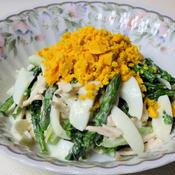鶏肉と春野菜のミモザサラダ