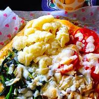 ★キノコ・カリフラワー・トマト・ほうれん草の4種のピザ。