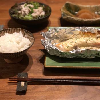 鮭の味噌マヨチーズホイル焼き♪