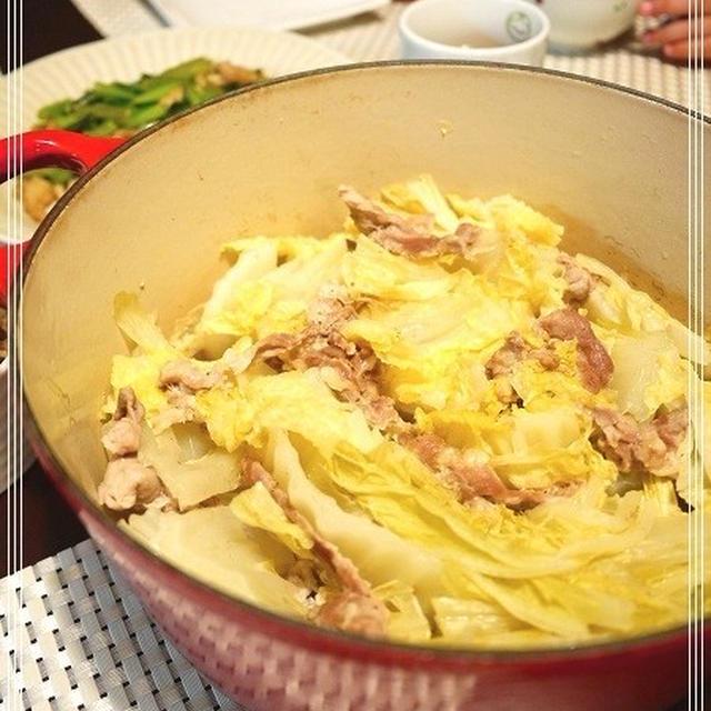 白菜のミルフィーユ鍋とさつま芋ご飯など。と、韓国ディナー