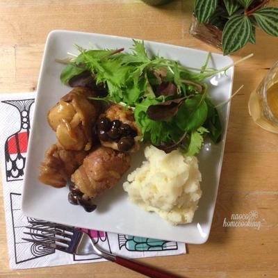 簡単♪しめじの肉巻き粒マスタード照り焼きと豆乳マッシュポテト