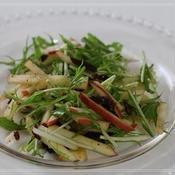 りんごと水菜とプルーンのサラダ♪シナモンペパー風味☆