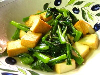 つるむらさきと厚揚げの炒め煮 〜七月の野菜〜