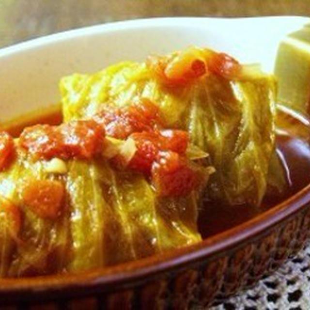 トマトスープのロールキャベツ