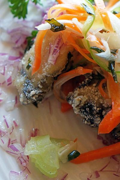春野菜の ツルッとカリッと牡蠣マリネ♪