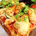 たけのことズッキーニの卵生地ピザ。 by Misuzuさん