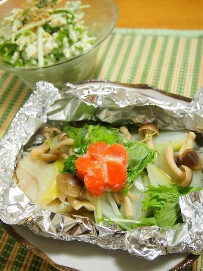 魚の味噌漬けでホイル焼き
