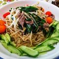干し野菜で漬物 ~ ライスラーメンで冷やし中華