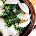 本日の肴…白はまぐり(ホンビノス)と豆腐の小鍋立て