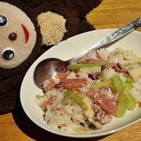 味がしみたご飯が爆ウマ!【セロリとエリンギのリゾット風チャーハン】
