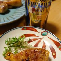 タケノコの豚巻きと、ビール!