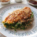 ネギたっぷり♪ 長芋と「野菜のとろ実」のふわとろ焼き