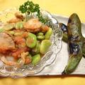 スピードレシピ♡ベビー帆立と空豆の生姜明太子ソース和え