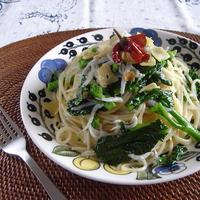 旬レシピ!菜の花としらすのペペロンチーノ。
