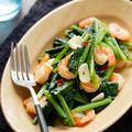 小松菜とむきエビのペペロン炒め【#簡単 #時短 #節約 #スピードおかず #おつまみ #副菜】