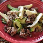 ウナギのかば焼き丼の献立と《ゴーヤと牛コマの普通の炒め物(※糖質オフです)》