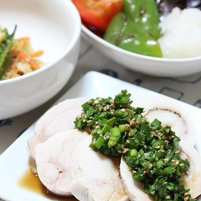 夏メニュー!鶏ハムのニラだれ&夏野菜の焼きびたし