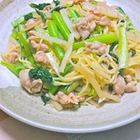 1食で1日の半分の野菜が摂れる〜小松菜と大根と豚肉の柚子胡椒香る塩焼きそば。
