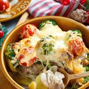 チキンと野菜のめんマヨチーズ焼き【#簡単 #節約 #時短 #トースター #クリスマス #おもてなし #主菜】