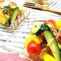 【乾物×イタリアン】バルサミコ酢ドレッシングのカラフル寒天サラダ♪とありがと〜☆