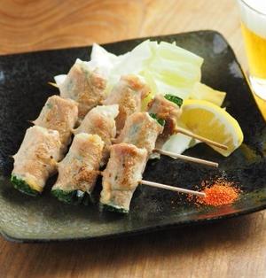豚しゃぶ肉でニラ巻き串焼き