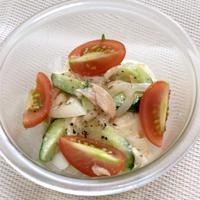【簡単料理】玉ねぎときゅうりのカンタンツナマヨサラダ・レンジすぐ!とうもろこし