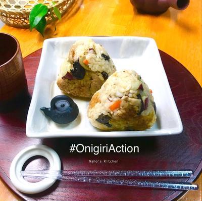 鯖缶とさつまいもキノコの秋の炊き込みご飯♡こんにゃく米入り #炊き込みご飯 #おにぎり #秋の味覚