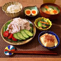 90.【30分】冷しゃぶサラダ、ニラ玉豆腐中華スープ、筍のさっと煮