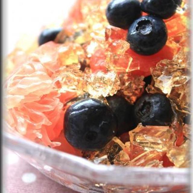グレープフルーツとブルーベリーのクラッシュゼリーのせ