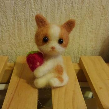 DAISO羊毛フェルトキットの猫ちゃんと初めてのチーズダッカルビ