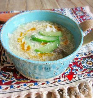夏でも温活♥きゅうりと卵の中華スープ