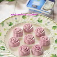 薔薇型で作る一口サイズのブルーベリーレアチーズケーキ