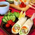 赤ワインチキンと野菜のラップサンド☆