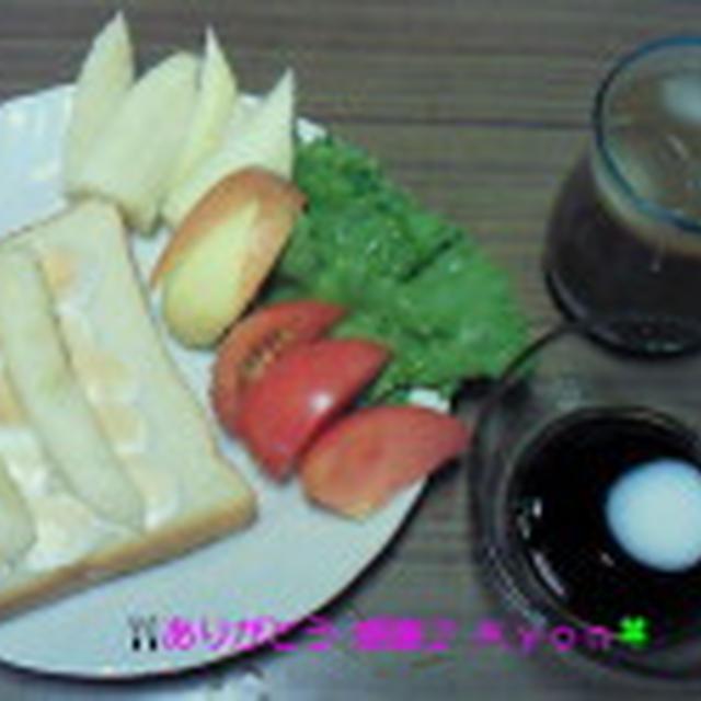 Good-morning Kyonのバナナトースト&フルーツ盛り~野菜盛り~編じゃよ♪