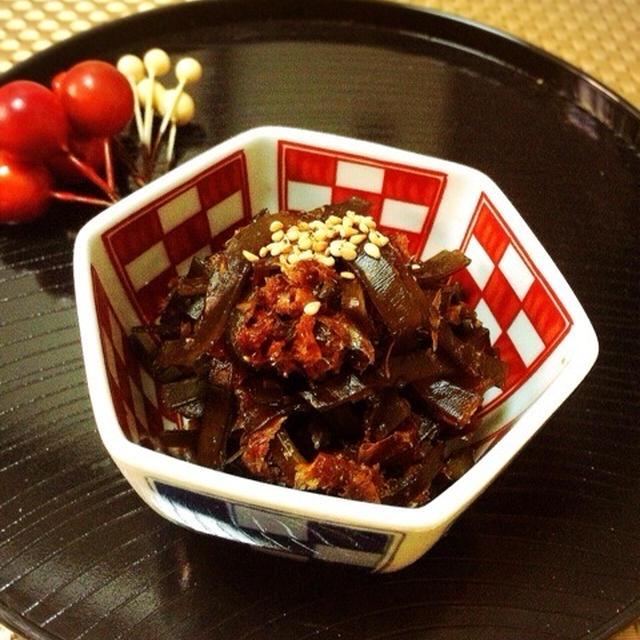 麺つゆで佃煮と食事で幸せになる。
