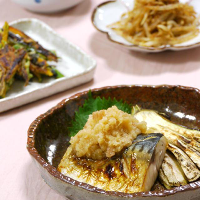 梅にんにく醤油おろしで焼き魚。もやしの蒸しごま和え。の晩ご飯。