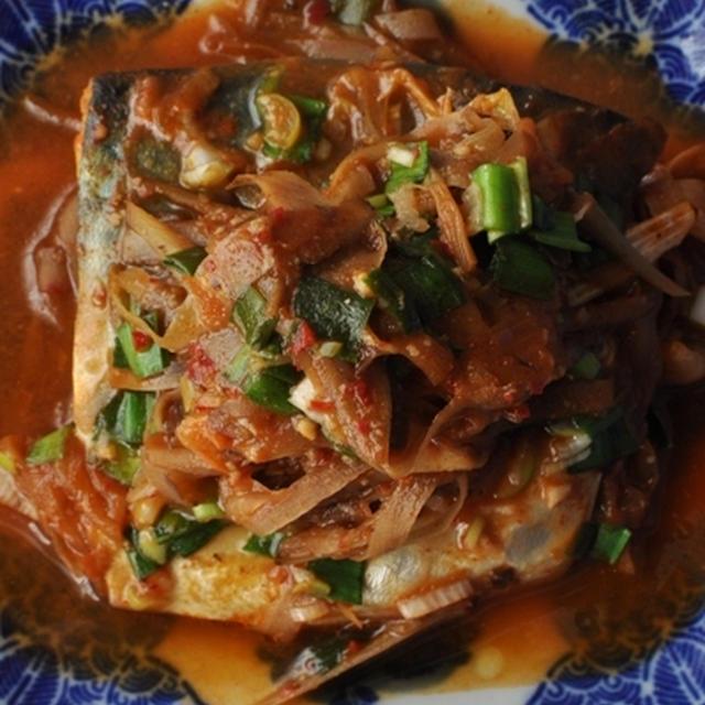 鯖のキムチごぼう煮