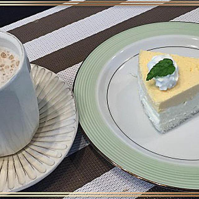台風の後の富士山と二層のレア―チーズケーキ~♪