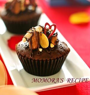 バレンタインにフワフワ濃厚チョコレートカップケーキ