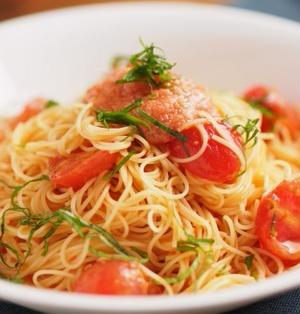 辛子めんたいとトマトの冷製パスタ