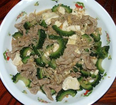 ゴウヤと豆腐、豚肉炒め&ベビーホタテとブロッコリーの炒め煮